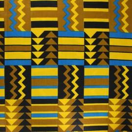Tissu Wax Polygala - jaune x 10cm