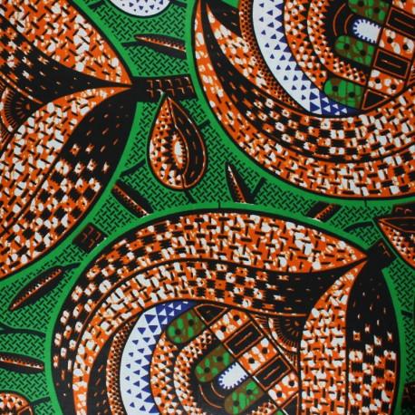 Wax print fabric - green Protea x 10cm