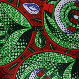 Tissu Wax Protea - rouge x 10cm