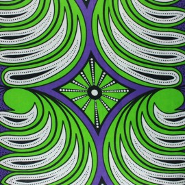 Wax print fabric - green Olea x 10cm