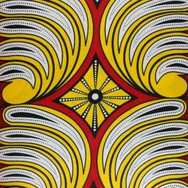 Wax print fabric - yellow Olea x 10cm