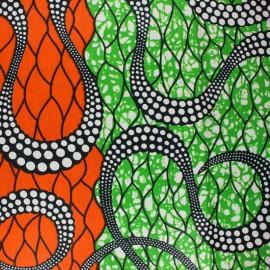 Tissu Wax Marula - orange x 10cm