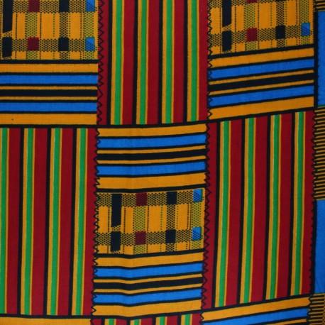 Wax print fabric - orange Faurea x 10cm