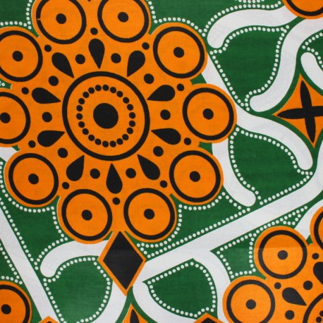 Wax print fabric - green Hioma x 10cm