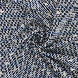 Tissu polyester lurex Neela - bleu x 10cm