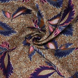 Fluid polyester fabric - ochre Feuille x 10cm