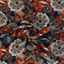 Fluid polyester fabric - khaki green Cachemire x 10cm