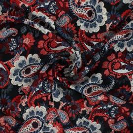 Tissu polyester fluide Cachemire - rouge x 10cm