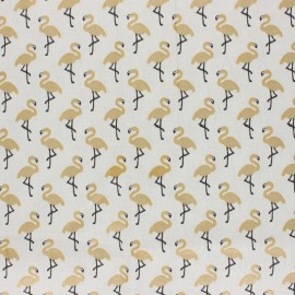 Coated cretonne cotton Fabric - off-white/gold Star flamingo x 10cm