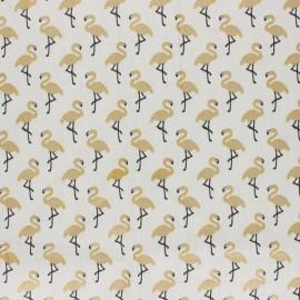 Tissu coton cretonne enduit Star flamingo - blanc cassé/doré x 10cm