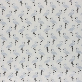 Coated cretonne cotton Fabric - off-white/silver Star flamingo x 10cm