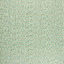 Coated cretonne cotton fabric - aqua green Riad x 10cm