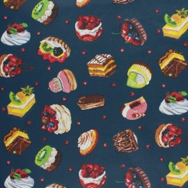 Coated cretonne cotton fabric - navy blue French Patisserie x 10 cm
