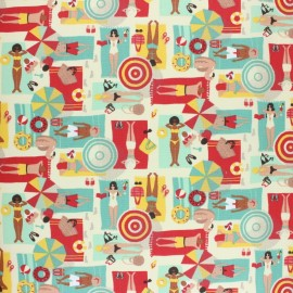 Coated cretonne cotton fabric - red La Plage x 10 cm
