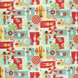 Tissu coton cretonne enduit La Plage - rouge x 10cm