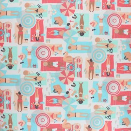Coated cretonne cotton fabric - coral pink La Plage x 10 cm