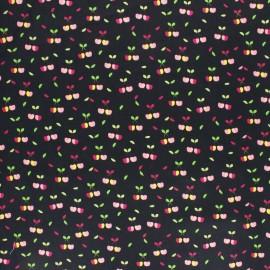 Tissu coton cretonne enduit Poppy Yummy cherry - noir x 10cm
