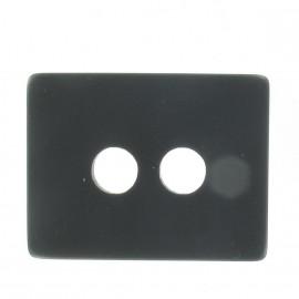 Wool rectangle-shaped buttton - black