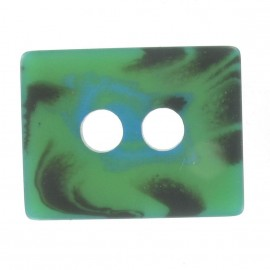 Wool rectangle-shaped buttton - turquoise/green