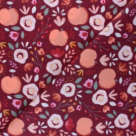 Tissu coton popeline Poppy Easy Peachy - bordeaux x 10cm