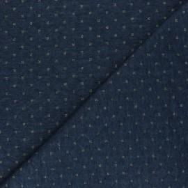 Tissu jersey matelassé réversible The Shining - bleu/doré x 10cm