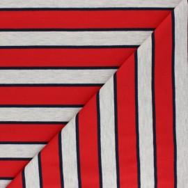 Tissu sweat léger à rayures Stripes - rouge x 10cm