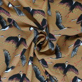 Patterned Viscose fabric - ochre Envol Sauvage x 10cm