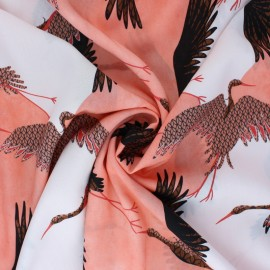 Tissu viscose Oiseaux en Vol - rose x 10cm