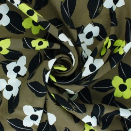 Flowery Viscose fabric - khaki green Naomi x 10cm
