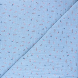 Tissu double gaze de coton Poppy Triangle Party - bleu x 10cm