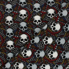 Patterned french terry fabric - black Graphic Skulls x 10cm