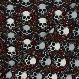 Tissu sweat léger Graphic Skulls - noir x 10cm