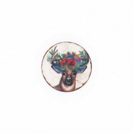 Coconut Wood Button - natural Flowery deer