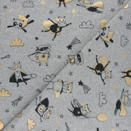 Tissu jersey Metallic Superheroes - gris chiné x 10cm