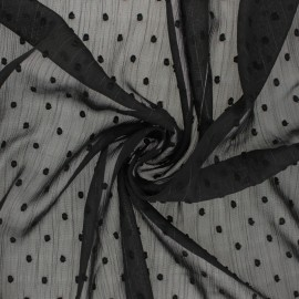 Lurex plumetis Muslin fabric - black x 50cm