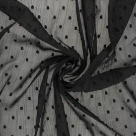 Tissu Mousseline lurex plumetis - noir x 50cm