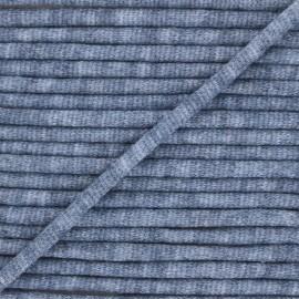 Cordon tricoté chiné (7 mm) - bleu marine  x 1m