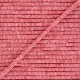 Cordon tricoté chiné (7 mm) - rouge  x 1m
