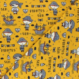 Poppy Jersey fabric - mustard yellow Sea Pirates x 10cm