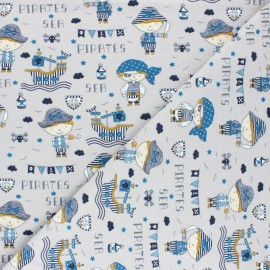 Poppy Jersey fabric - grey Sea Pirates x 10cm