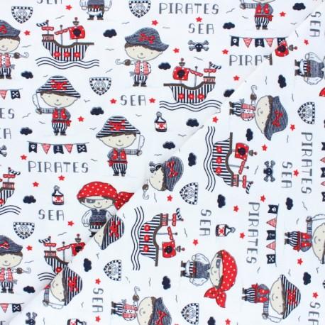 Tissu jersey Poppy Sea Pirates - blanc x 10cm