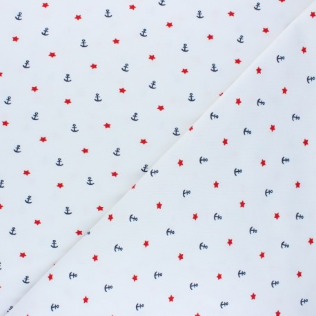 Poppy Jersey fabric - white Sea Adventure x 10cm