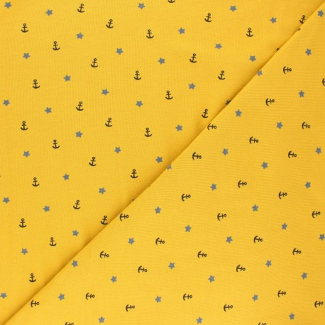 Poppy Jersey fabric - mustard yellow Sea Adventure x 10cm