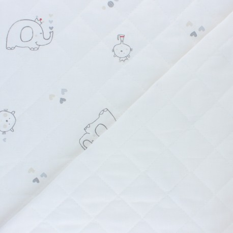Quilted cotton fabric - white Lovely Animals x 10cm