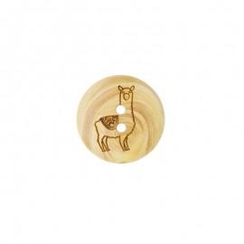 Wood Button Lama - Natural