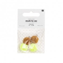 Set de 4 mini pompons ronds 15mm - moutarde/jaune fluo
