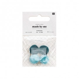 Set de 4 mini pompons ronds 15mm - bleu/vert paon