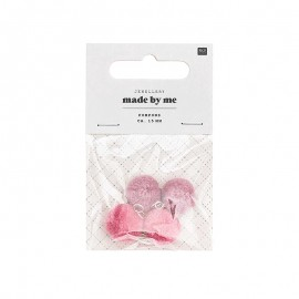 Set de 4 mini pompons ronds 15mm - rose/vieux rose