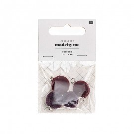 Set de 4 mini pompons ronds 15mm - violet/bordeaux