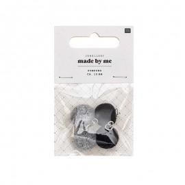 Set de 4 mini pompons ronds 15mm - gris/noir